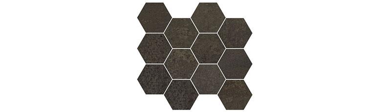 Aparici Metallic Brown Natural Mosaico Hexagonal 28x30