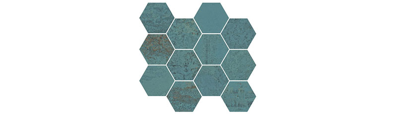 Aparici Metallic Green Natural Mosaico Hexagonal 28x30